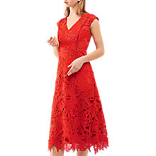 Buy Jigsaw Lace Leaf Dress, Scarlet Online at johnlewis.com