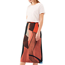 Buy Jigsaw Deconstructed Typo Silk Wrap Skirt, Scarlet Online at johnlewis.com