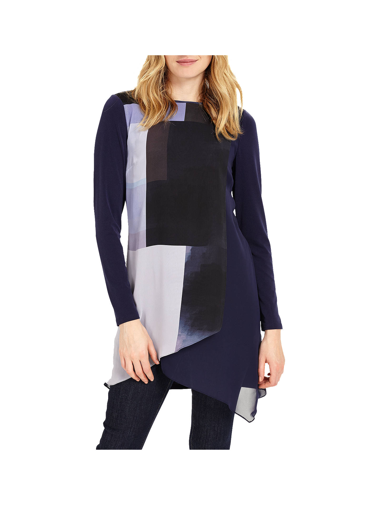 6014096a4cd Buy Phase Eight Vinny Colour Block Tunic, Navy, 8 Online at johnlewis.com  ...