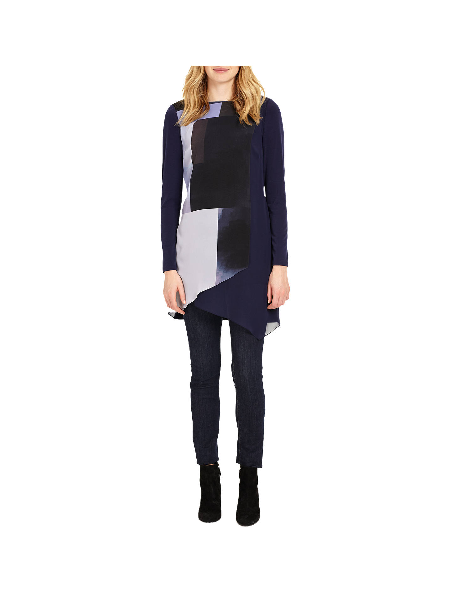 792a72b11dc ... Buy Phase Eight Vinny Colour Block Tunic, Navy, 8 Online at  johnlewis.com ...