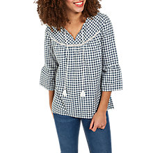Buy Fat Face Athena Gingham Popover Top, Vintage Blue Online at johnlewis.com