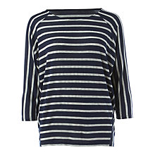 Buy Phase Eight Carris Stripe Top, Navy/Silver Online at johnlewis.com