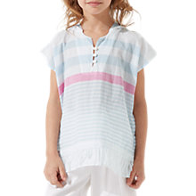 Buy Jigsaw Girls' Striped Hooded Kaftan Top, Pale Blue Online at johnlewis.com