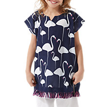 Buy Jigsaw Girls' Flamingo Pom Kaftan Top, Navy Online at johnlewis.com