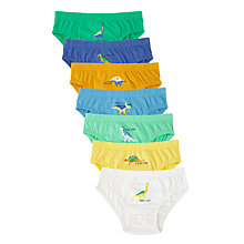 Buy John Lewis Boys' Dinosaur Print Briefs, Pack of 7, Multi Online at johnlewis.com