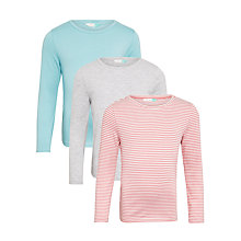 Buy John Lewis Girls' Stripe and Spot T-Shirts, Pack of 3 Online at johnlewis.com