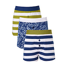 Buy John Lewis Boys' Dinosaur and Rugby Stripe Print Boxers, Pack of 3, Blue/Green Online at johnlewis.com