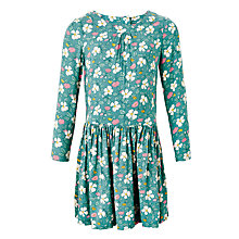 Buy John Lewis Girls' Floral Printed Drop Waist Dress, Green Online at johnlewis.com