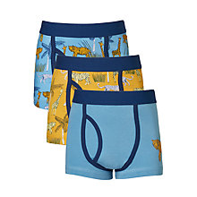 Buy John Lewis Boys' Safari Print Trunks, Pack of 3, Blue/Yellow Online at johnlewis.com