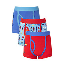 Buy John Lewis Boys' London Print Trunks, Pack of 3, Blue/Red Online at johnlewis.com