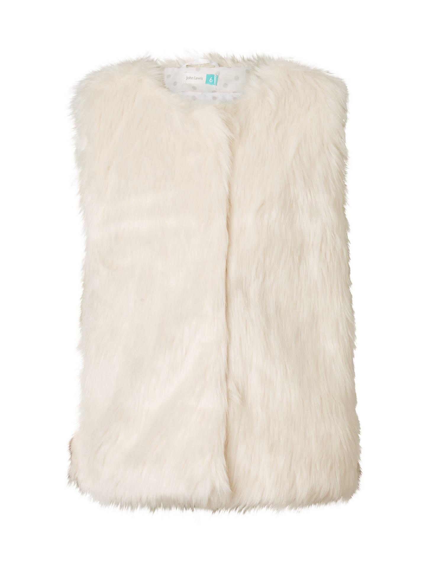 1359f154 Buy John Lewis Girls' Faux Fur Gilet, Cream, 2 years Online at johnlewis ...