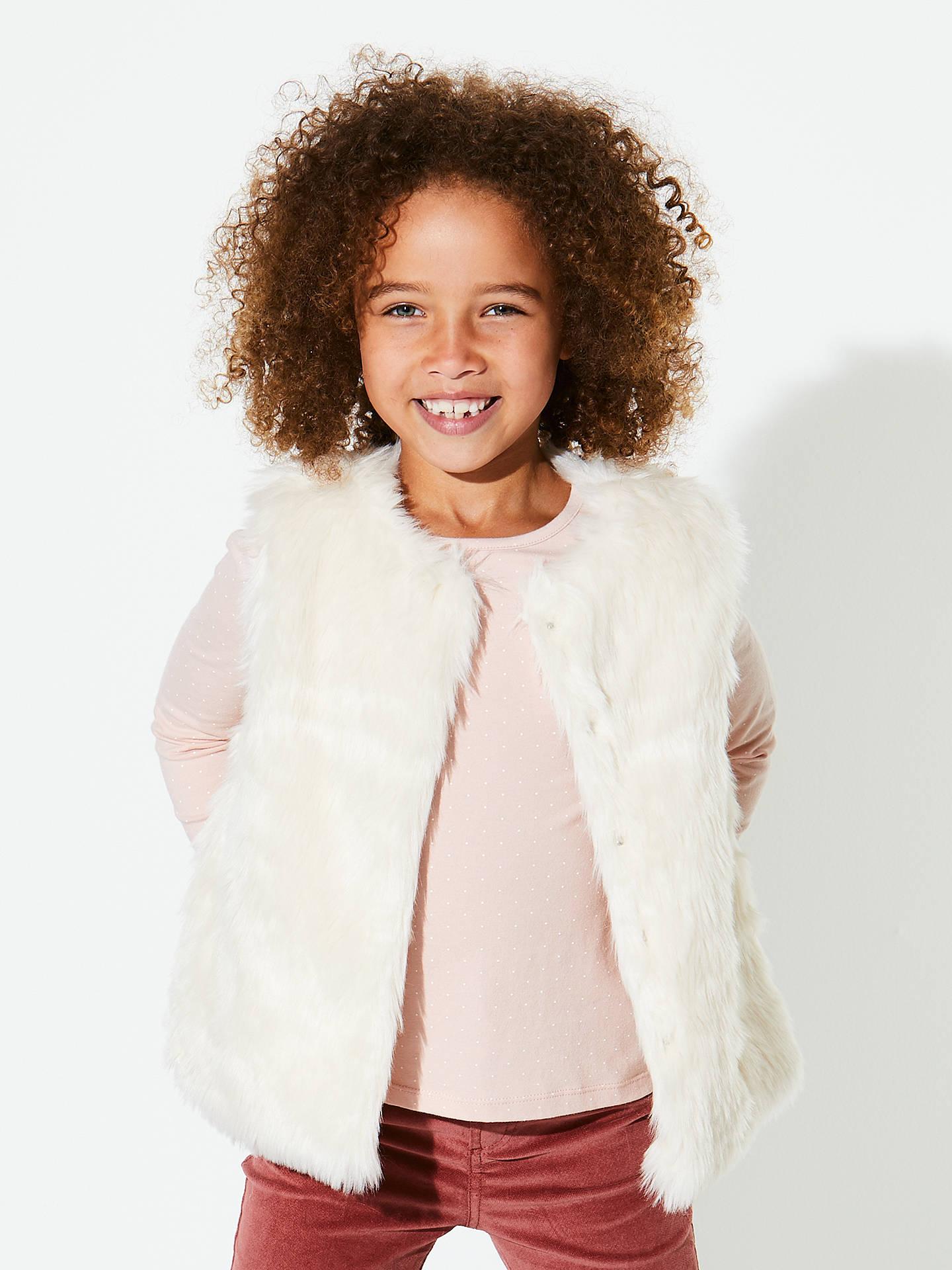 9ed74433 ... Buy John Lewis Girls' Faux Fur Gilet, Cream, 2 years Online at  johnlewis ...