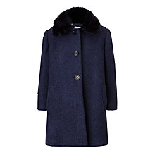 Buy John Lewis Girls' Fur Collar Coat, Navy Online at johnlewis.com