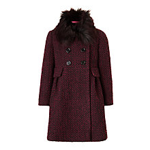 Buy John Lewis Girls' Fur Collar Coat, Berry Online at johnlewis.com