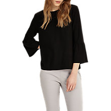 Buy Phase Eight Farah Fluted Sleeve Top, Black Online at johnlewis.com