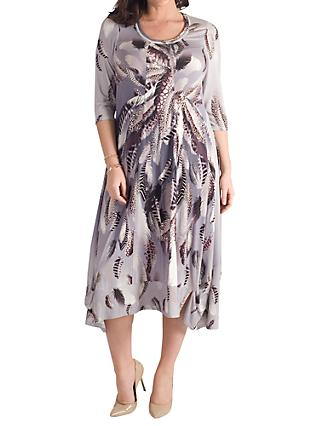 Chesca Feather Print Dress, Silver Grey/Multi