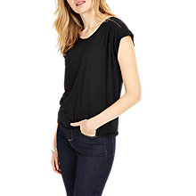 Buy Phase Eight Zora Zip Shoulder Top, Black Online at johnlewis.com