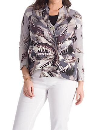 Chesca Feather Print Jacket, Grey