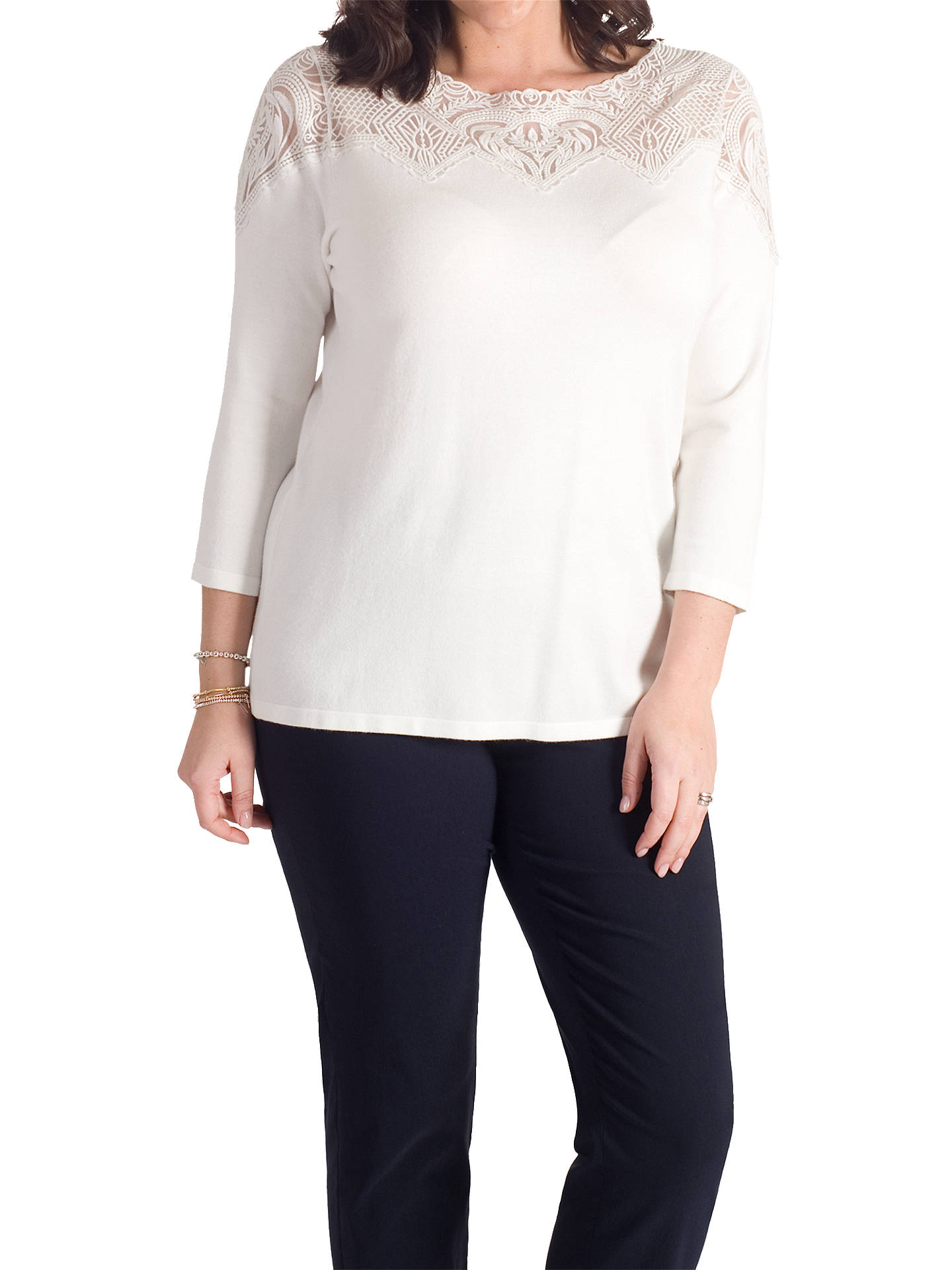 Buy Chesca Embroidered Yoke Jumper, Ivory, 12-14 Online at johnlewis.com