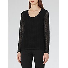 Buy Reiss Molly Long Sleeve Lace Top, Black Online at johnlewis.com