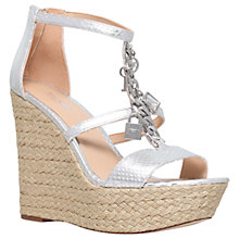 Buy MICHAEL Michael Kors Suki Wedge Heeled Sandals, Silver Online at johnlewis.com