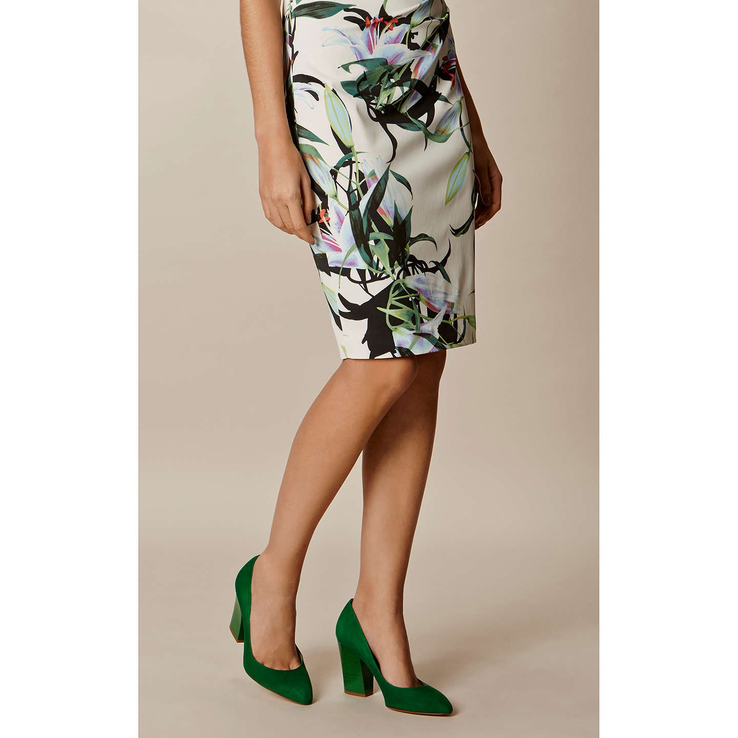 BuyKaren Millen Almond Toe Block Heeled Court Shoes, Green, 3 Online at johnlewis.com