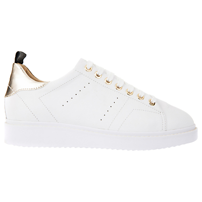 Geox Thymar Leather Lace Up Trainers, White