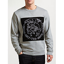 Buy Diesel S-Samuel Graphic Print Sweatshirt, Light Grey Melange Online at johnlewis.com