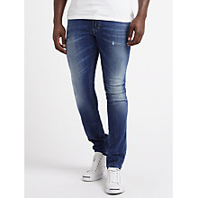 Buy Diesel Tepphar 084GG Slim Jeans, Mid Blue Distressed Online at johnlewis.com