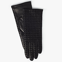 Buy Modern Rarity Suede and Leather Plaited Cashmere Lined Gloves, Black Online at johnlewis.com