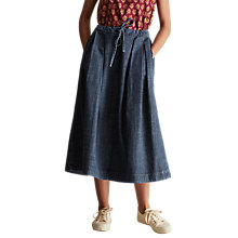 Buy Toast Gathered Waist Denim Skirt, Pale Indigo Blue Online at johnlewis.com