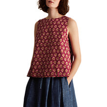 Buy Toast Block Print Cotton Top, Burgundy Multi Online at johnlewis.com