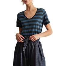 Buy Toast Block Stripe Scoop Neck T-Shirt, Washed Indigo/Dark Marine Blue Online at johnlewis.com