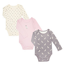 Buy John Lewis Baby Dalmatian Bodysuit, Pack of 3, Pink/Multi Online at johnlewis.com