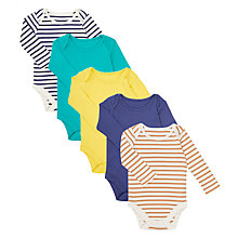 Buy John Lewis Baby Long Sleeve GOTS Organic Cotton Bodysuit, Pack of 5, Assorted Online at johnlewis.com