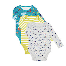 Buy John Lewis Baby GOTS Organic Woodland Theme Long Sleeve Bodysuit, Pack of 3, Multi Online at johnlewis.com
