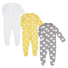 Buy John Lewis Baby Elephant GOTS Organic Sleepsuit, Pack of 3, Yellow/Grey Online at johnlewis.com