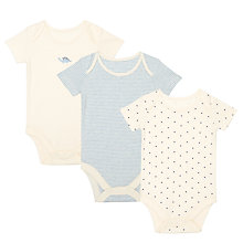 Buy John Lewis Baby GOTS Organic Dinostars Bodysuit, Pack of 3, Blue/Multi Online at johnlewis.com