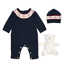 Buy Emile et Rose Baby Fairisle All-in-One 3 Piece Set, Navy Online at johnlewis.com