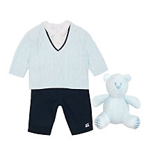 Buy Emile et Rose Baby V-Neck Jumper, Shirt & Trousers Set, Blue Online at johnlewis.com