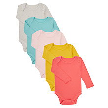 Buy John Lewis Baby Long Sleeve Pointelle Bodysuit, Pack of 5, Multi Online at johnlewis.com