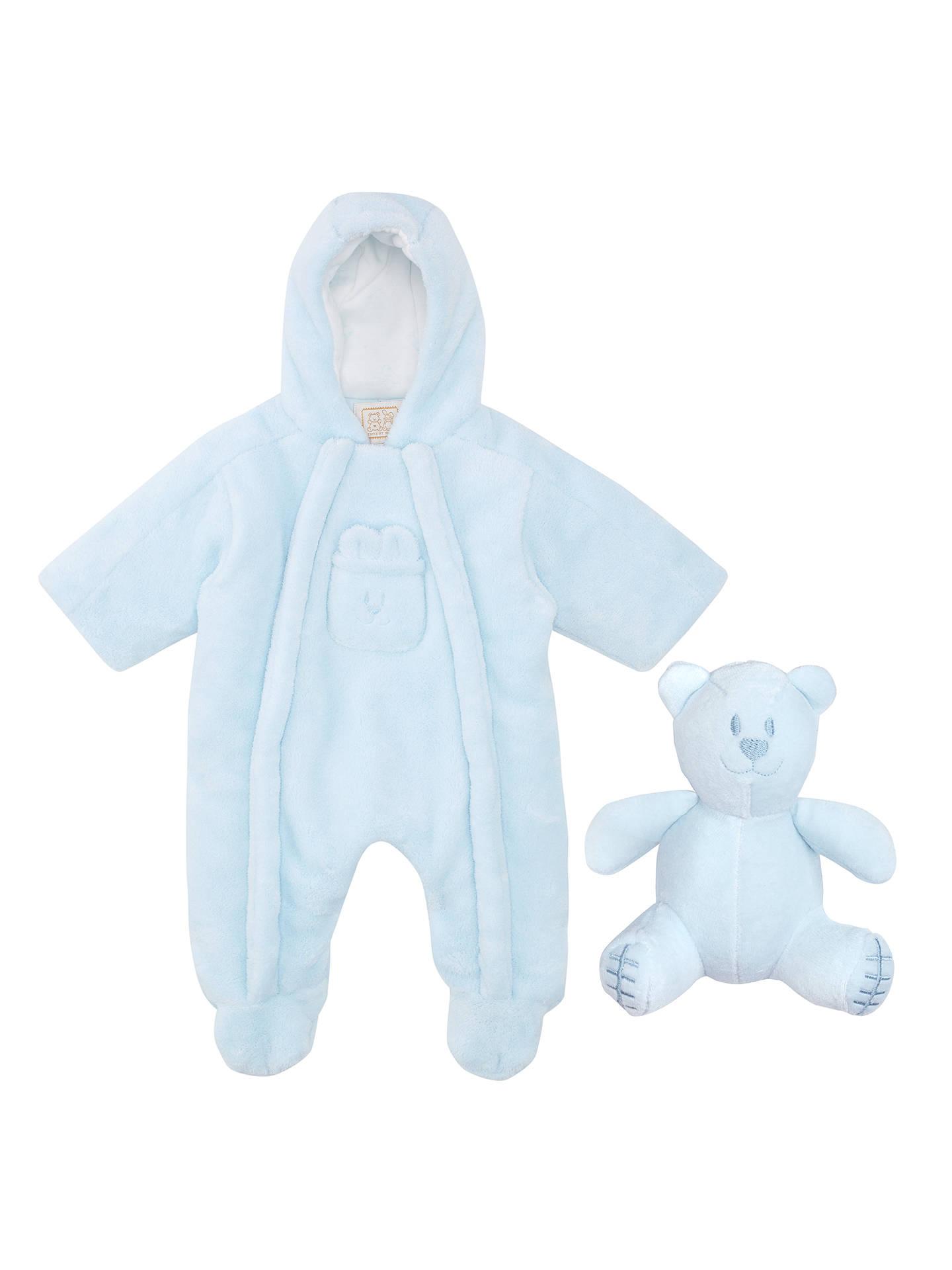 404fdb377 Buy Emile et Rose Baby Fleece Pramsuit, Blue, Newborn Online at  johnlewis.com ...