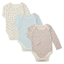 Buy John Lewis Baby GOTS Organic Floral Bodysuit, Pack of 3, Blue/Multi Online at johnlewis.com