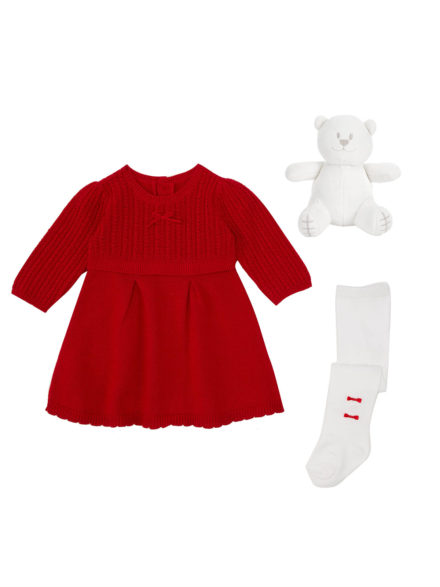 8b68264aa14a Emile et Rose Baby Knit Dress and Tights, Red at John Lewis & Partners