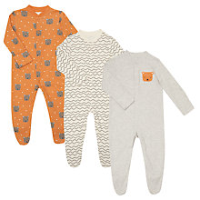 Buy John Lewis Baby GOTS Organic Bear Heads Sleepsuit, Pack of 3, Orange/Multi Online at johnlewis.com