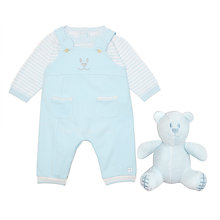 Buy Emile et Rose Baby Dungarees 3-Piece Set, Blue/White Online at johnlewis.com