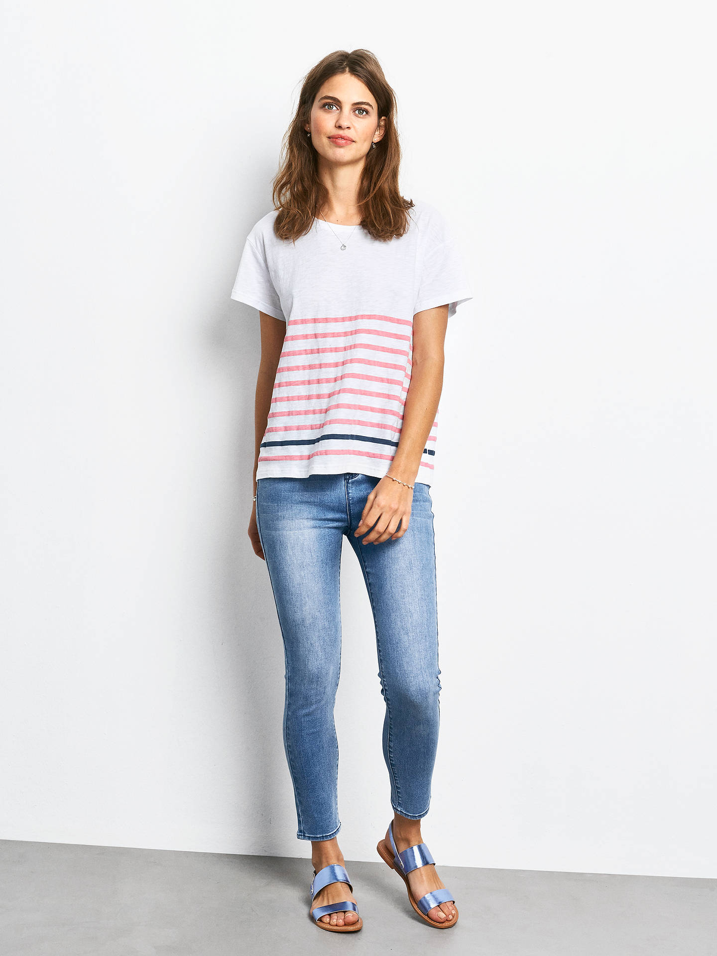 Buy hush Boxy Striped Slub T-Shirt, White/Strawberry Pink/Navy, XS Online at johnlewis.com