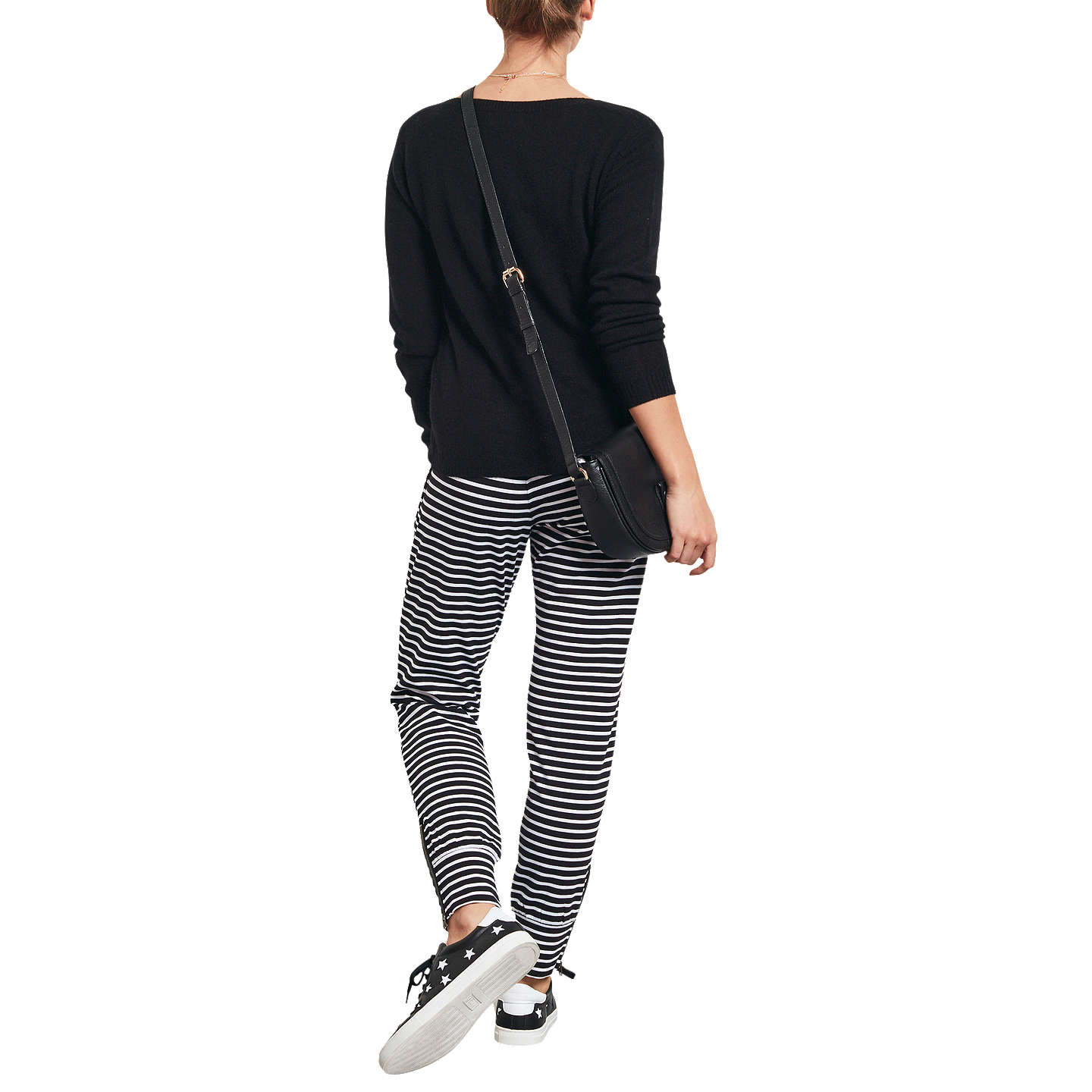 Buyhush Amie Stripe Joggers, White/Black, XS Online at johnlewis.com