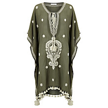 Buy Star Mela Delfi Embroidered Kaftan, Khaki Online at johnlewis.com