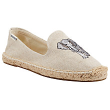 Buy Soludos Elephant Embroidered Smoking Espadrilles, Sand Online at johnlewis.com
